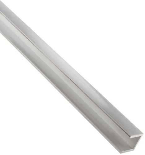 "Aluminum 6063-T52 U-Channel, Square Corner Style, AMS QQ-A-200/9, ASTM B221, 1/8"" Thick, 2"" Base Width, 1"" Leg Length, 72"" Length"