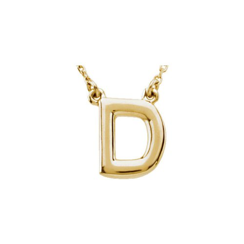 14K Yellow Gold Block Initial Necklace D 16