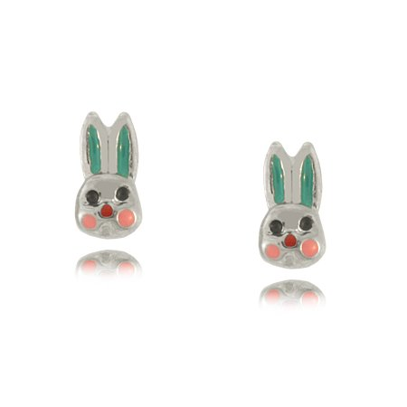 Children's Rabbit Earrings in Sterling Silver Earrings Enamel - 5/16