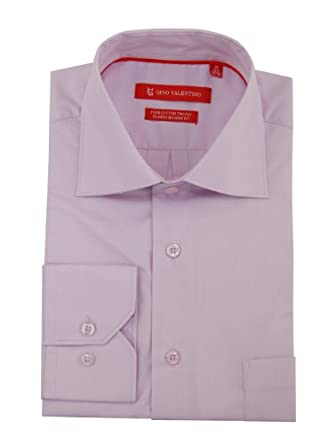 "Gino Valentino Men's Modern Spread Collar Barrel Cuff Dress Shirt (15"" Neck 32/33 Sleeve, Purple)"