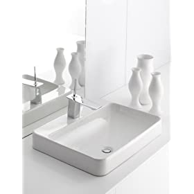 "Kohler K-2660-8-0 Vox Rectangle Vessel with 8"" Centers Faucet Deck, White"