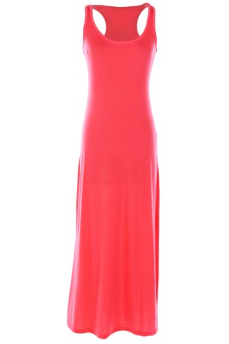 Kmystic Long Maxi Solid Racerback Dress (Small, Coral)