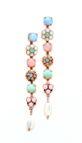Amaro Jewelry Studio 'Flow' Collection 24K Rose Gold Plated Dangle Earrings, Set with Amazonite, Blue Lace Agate, Mother of Pearl, Pink Mussel Shell, Pearl, Rose Quartz, Variscite, Swarovski Crystals and Flower Elements
