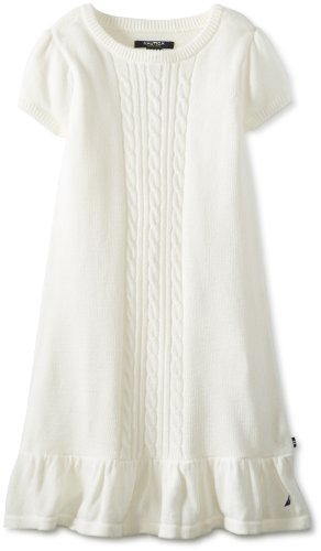 Nautica Girls 7-16 Cable Knit Sweater Dress, Natural, 8