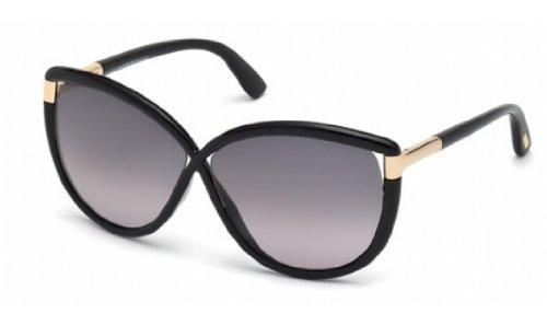 Tom Ford Abbey TF 327/S 01B Black Women's TF327/S Cat Eye Sunglasses 63mm