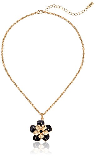 1928 Jewelry Le Marais Gold-Tone Enamel Flower Pendant Necklace, 16""