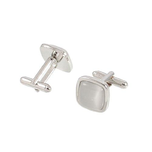 Allegra K Metal Frame Clear White Plastic Bead Mens Shirt Sleeve Button Cufflinks Pair