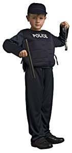 Disguise Policeman Costume with a Plastron a Hat Handcuffs and a Stick for Children ( 3-4 Years)