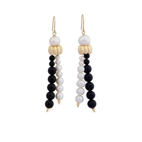 18k Yellow Gold Plated Sterling Silver White Pearl and Black Agate Beaded Drop Earrings
