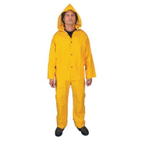 Classic PVC/Poly Suit, .25mm, 3pc, w/ Detach Hood/Bib-Pants, Yellow, 7X-Large