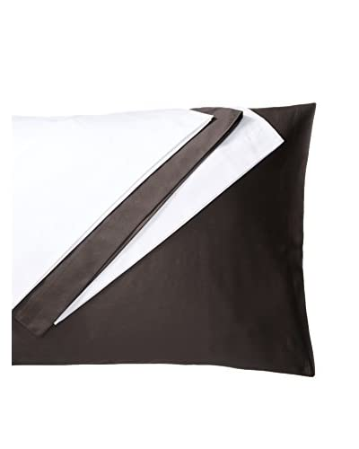 Silverline Set of 4 Standard Cotton Sateen Standard Pillowcases, White/Chocolate