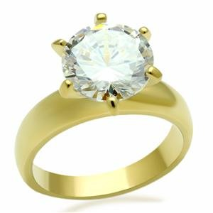 CZ ENGAGEMENT RING - 14k Gold Plated 6 Prong Solitaire CZ Engagement Ring