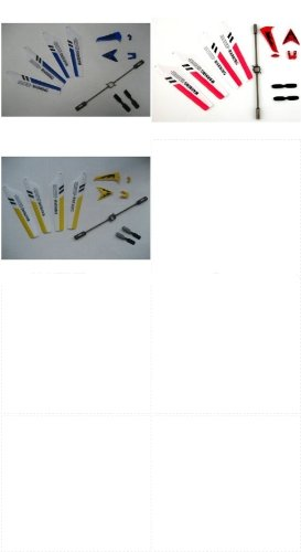 Full Set Replacement Parts for Syma S107 RC Helicopter, Main Blades, Tail Decorations, Tail Props, Balance Bar, RED, Yellow, &