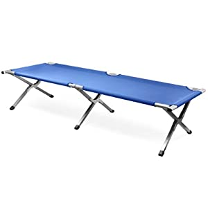 LYNCOL Single Folding Aluminum Camping Bed Camp Travel Outdoor Bed (Blue) from LYNCOL