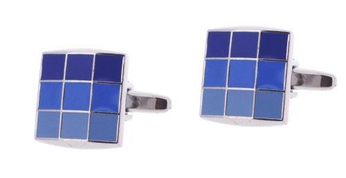 Code Red Base Metal Rhodium Plated Square Cufflinks with Blue Shades Enamel Squares