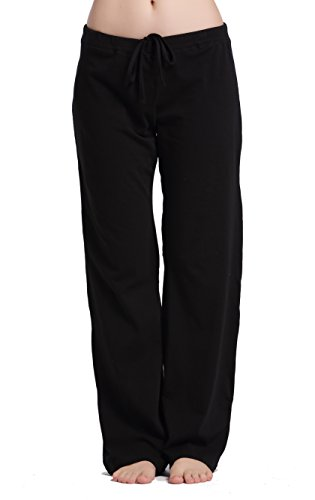 CYZ Women's Basic Stretch Cotton Knit Pajama Sleep Lounge Pants-Black-S (Wide Leg Pajama Pants compare prices)