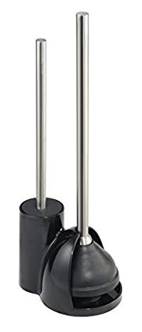 mDesign Toilet Bowl Brush and Plunger Set for Bathroom Storage - Black/Brushed Stainless Steel