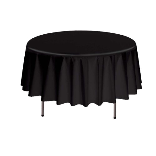 "Party Essentials Heavy Duty Round Plastic Table Cover, 84"", Black"