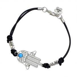 Silver Plated Fashion Black String Hamsa/Hand of Fatima Bracelet