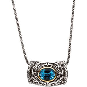 Genuine IceCarats Designer Jewelry Gift Sterling Silver & 14K Yellow Gold Gen Swiss Blue Topaz Necklace. 10.00X08.00 Mm Genuine Swiss Blue Topaz Necklace Gen Swiss Blue Topaz Necklace In Sterling Silver & 14K Yellow Gold