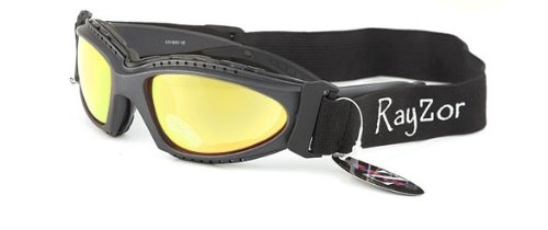 2013 Rayzor Professional Uv400 Gun Metal Grey 2 In 1 Ski / Snowboard Sunglasses / Goggles, With An Anti Fog Gold Iridium Mirrored Anti-glare Clarity Lens And A Detachable Elasticated Headband.