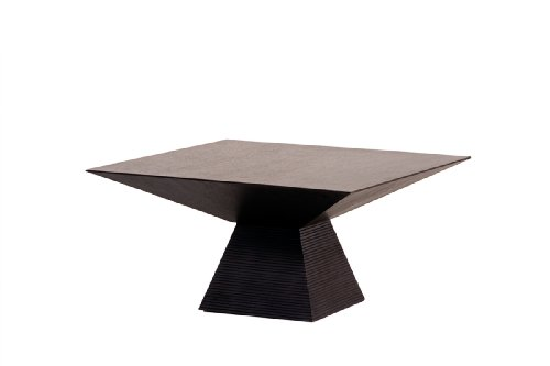 Cheap Diamond Sofa Low Profile Square End Table with Pedestal Base, Dark Walnut (l0809b)