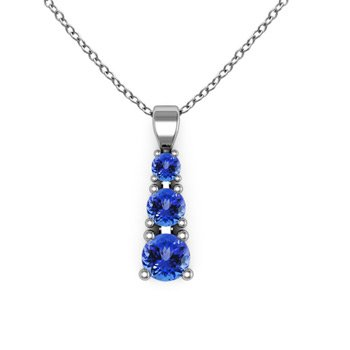 Tanzanite Three Stone Pendant Necklace in 14K White Gold