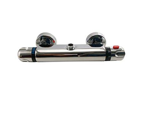 DP Grifería RY-S002 + V002B - Set de ducha cuadrado con grifo termostático (acero inoxidable) color plateado