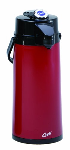 Wilbur Curtis Thermal Dispenser Air Pot, 2.2L Red Body Glass Liner Lever Pump - Commercial Airpot Pourpot Beverage Dispenser - TLXA2206G000 (Each) (Hot Drink Carafe compare prices)