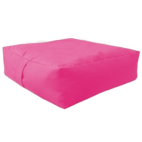 Large Bean Floor Garden Slab Cushion Stool Pouffe in Pink, Great for Indoors and Outdoors. Ideal for Relaxing and Occasional seating, Made from High Quality Water Resistant Material, Available in 10 Great Colours