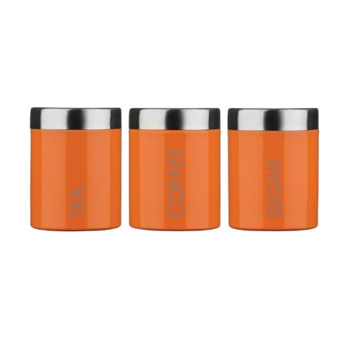 5 X Orange Enamel Tea Coffee And Sugar Storage Set Jars Canisters With Satin Stainless Steel Lid And Trim