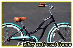 Anti-Rust aluminum frame, Fito Brisa Alloy 1-speed - Midnight Blue/Turquoise, women's 26