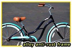 Anti-Rust aluminum frame, Fito Brisa Alloy 1-speed - Midnight Blue/Turquoise, women's 26