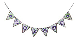 """Burlap Spring into Easter Pennant Banner with Flowers and Polka Dots - 54"""" x 6.75"""" by Sterling Pear"""
