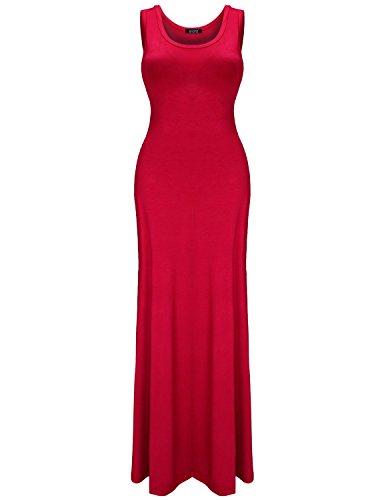 Elywish Women's Sleeveless Summer Casual Scoop Neck Bodycon Swing Maxi Dress