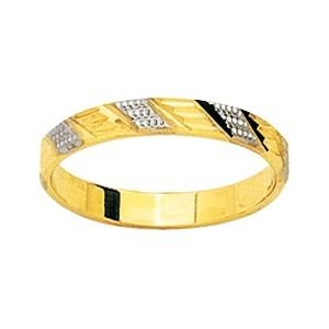 So Chic Jewels - 9k Yellow Gold Two-tone 3 mm Fantasy Pattern Wedding Band Ring