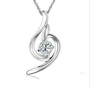 Rhodium Plated Silver CZ Gentle Angels Pendant Necklace Including Silver Singapore Chain '18 inch 1008