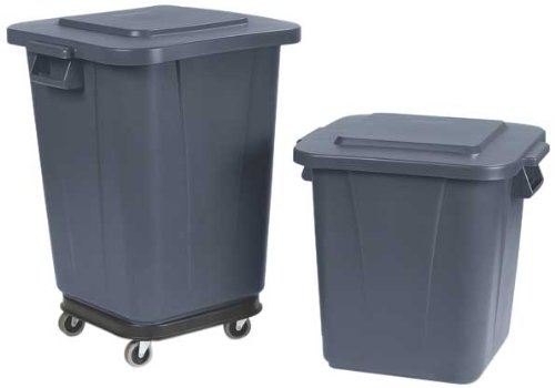 """Carlisle 34152923 Bronco Polyethylene Square Lid, 22"""" Length X 22"""" Width X 2-1/2"""" Height, Gray, For 28 Gallon Waste Containers front-121389"""
