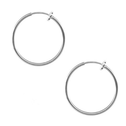 Fake Piercing Pair Of Non Pierced Hoops-Clip On, Pair Of The Illusion Clips - Medium