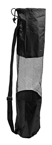 Layopo Black Women Yoga Tote Bag Carrier Portable Mesh Center Pilates Mat With Layopo'S Carabiner front-958970