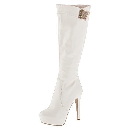 Sergio Todzi © Damenstiefel NEU Sexy Highheels Overknees Stiefeletten Boots Pumps Stiletto (35, Weiß)