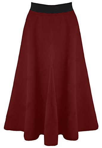 Ladies Womens Elastic Waist Band Scuba Stretchy Flared Skater Swing Long Midi Mid Length Knee Office Work Skirt 8-14 (M/L, Wine)