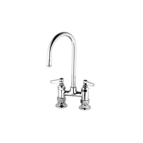 T&S Brass B-0326 Double Pantry Faucet, 4-Inch Deck Mount, 120X Rigid Gooseneck with B-Lt Outlet, Lever Handles