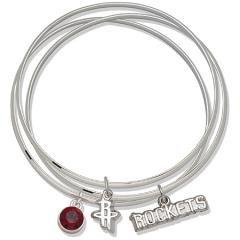NBA Officially Licensed Houston Rockets Bangle Bracelet Set W/ Red Crystal