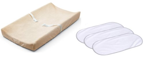 Summer Infant Ultra Plush Changing Pad Cover With 3-Pack Waterproof Changing Pad Liners, Ecru front-558720