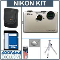 Nikon Coolpix S1100pj Digital Camera Kit - Silver - with 8GB SD Memory Card, Camera Case, Table Top Tripod, Spare EN EL-12 Lithium-Ion Battery, 2 Year Extended Service Coverage