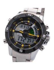 Weide Mens Silver Alloy Lcd Digital Alarm Sport Dive Wrist Watch 30M Waterproof - Yellow Needle - Just Arrive!...