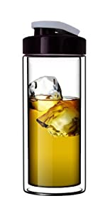 Sun's Tea (TM) 18oz Ultra Clear Double-Wall Glass Travel Mug with Flip-on Drinkhole Lid (made of real borosilicate glass)