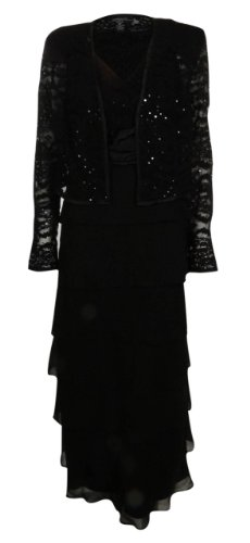R&M Richards Women's Tiered Georgette & Lace Jacket Dress Set (6 Petite, Black)