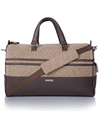 Veuza Madrid Premium Jacquard And Faux Leather Choco Brown Duffel Bag